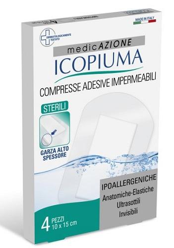 GARZA COMPRESSA ICOPIUMA MEDICATA POSTOPERATORIA 10X15 CM 4 PEZZI - Farmaseller