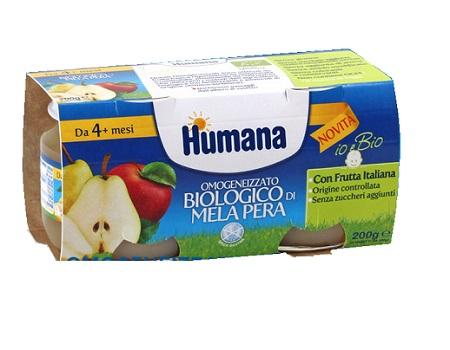 HUMANA OMOGENEIZZATO MELA/PERA BIO 2 VASETTI 100 G - Carafarmacia.it