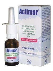 ACTIMAR SOLUZIONE NASALE SPRAY SALINA 3% CON ACIDO IALURONICO + MSM 20 ML CON EROGATORE - farmaciadeglispeziali.it