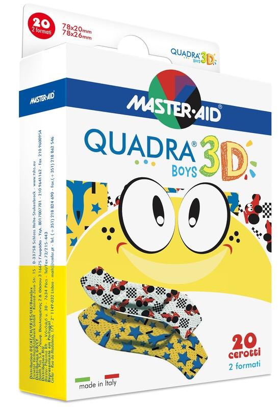 CEROTTO MASTER-AID QUADRA 3D BOYS 20 PEZZI ASSORTITI - Farmacia Basso