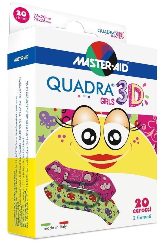 CEROTTO MASTER-AID QUADRA 3D GIRLS 20 PEZZI ASSORTITI - FARMAEMPORIO