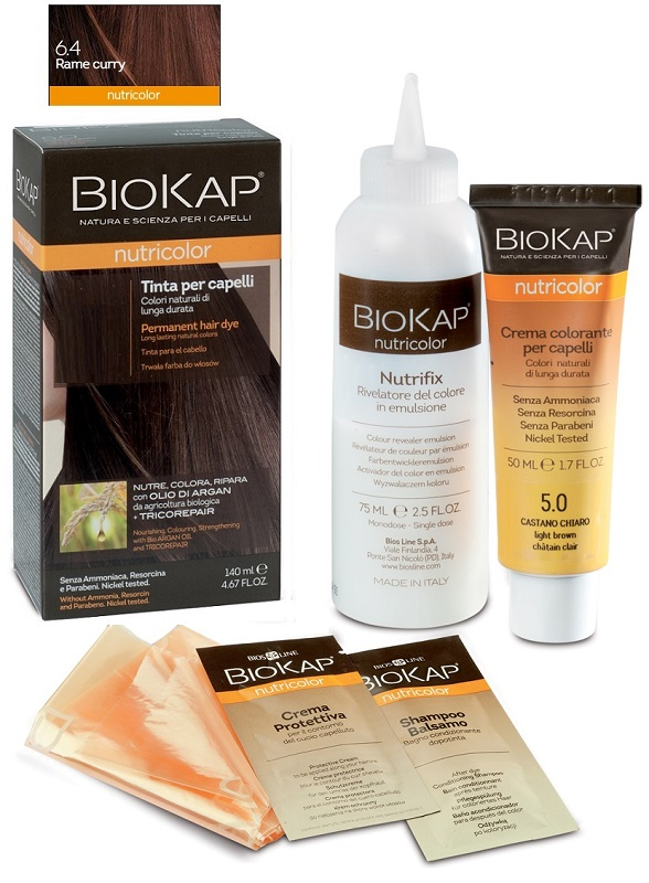 BIOKAP NUTRICOLOR 6,4 RAME CURRY TINTA TUBO + FLACONE - La farmacia digitale