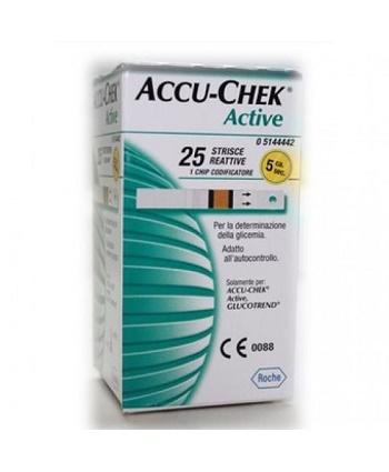 STRISCE MISURAZIONE GLICEMIA ACCU-CHEK ACTIVE STRIPS 25 PEZZI INF RETAIL - Parafarmacia Tranchina