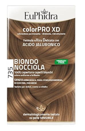 EUPHIDRA COLORPRO XD 735 BIONDO NOCCIOLA GEL COLORANTE CAPELLI IN FLACONE + ATTIVANTE + BALSAMO + GUANTI - Farmaci.me