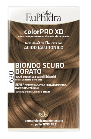 EUPHIDRA COLORPRO XD 630 BIONDO SCURO DORATO GEL COLORANTE CAPELLI IN FLACONE + ATTIVANTE + BALSAMO + GUANTI - Farmia.it
