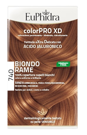 EUPHIDRA COLORPRO XD 740 BIONDO RAME GEL COLORANTE CAPELLI IN FLACONE + ATTIVANTE + BALSAMO + GUANTI - Farmia.it