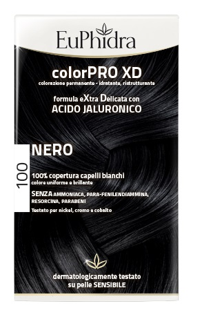 EUPHIDRA COLORPRO XD 100 NERO GEL COLORANTE CAPELLI IN FLACONE + ATTIVANTE + BALSAMO + GUANTI - La farmacia digitale