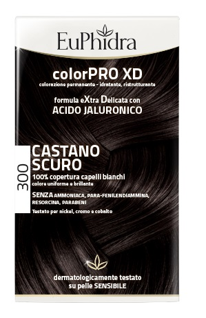 EUPHIDRA COLORPRO XD 300 CASTANO SCURO GEL COLORANTE CAPELLI IN FLACONE + ATTIVANTE + BALSAMO + GUANTI - Farmafirst.it