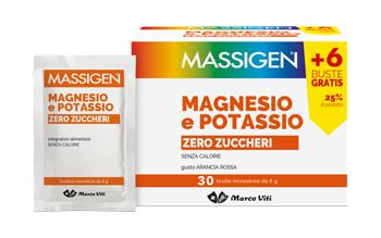 MASSIGEN MAGNESIO E POTASSIO SENZA ZUCCHERO BUSTINA  24+6 BUSTINE OMAGGIO - Farmafamily.it