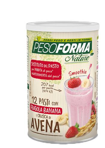 PESOFORMA NATURE SMOOTHIE FRAGOLA BANANA POLVERE 420 G - Farmafamily.it