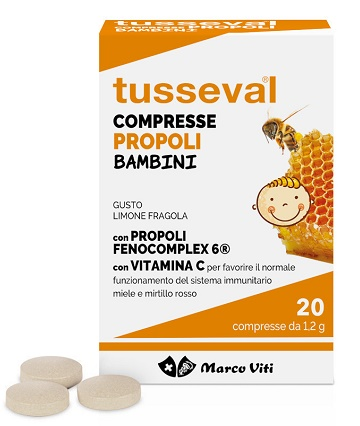 Tusseval Gola Compresse Propoli Bambini Limone e Fragola 20 Compresse