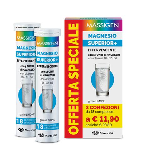 MASSIGEN MAGNESIO SUPERIOR 18+18 COMPRESSE EFFERVESCENTI - Farmacia Bartoli