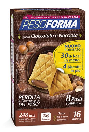 PESOFORMA BISCOTTO CIOCCOLATO NOCCIOLA 16 PEZZI 33 G - La farmacia digitale