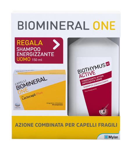 BIOMINERAL ONE LACTOCAPIL 30 COMPRESSE + BIOTHYMUS SHAMPOO UOMO ENERGIZZANTE 150 ML - Farmafamily.it