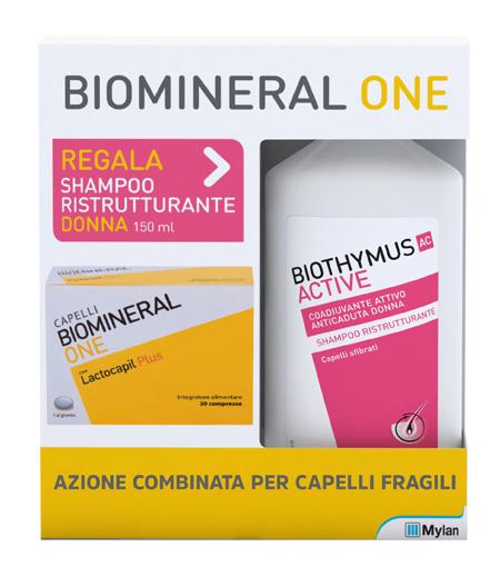 BIOMINERAL ONE LACTOCAPIL 30 COMPRESSE + BIOTHYMUS SHAMPOO DONNA RISTRUTTURANTE 150 ML - Farmafamily.it