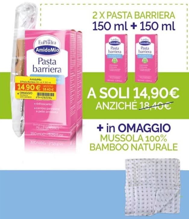 EUPHIDRA AMIDOMIO PASTA BARRIERA 2X150 ML + MUSSOLA GADGET - Farmacia Massaro
