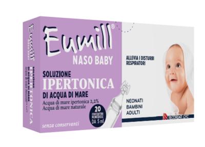 EUMILL NASO BABY SOLUZIONE IPERTONICA 20 CONTENITORI MONODOSE 5 ML - Farmajoy