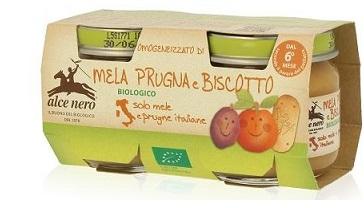 OMOGENEIZZATO MELA PRUGNA E BISCOTTO BABY FOOD BIO 2 X 80 G - Farmastop