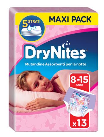DRYNITES DOPPIO PACCO GIRL 8/15 ANNI PESO 27-57KG 13 PEZZI - Farmapage.it