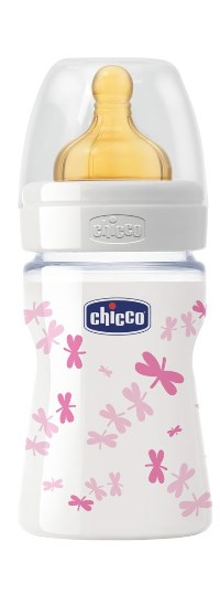 CHICCO BIBERON WELL BEING IN VETRO DECORATO GIRL DA 150 ML NORMAL LATTICE - Biofarmasalute.it