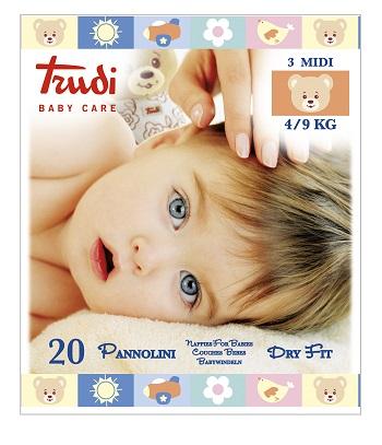 TRUDI BABY CARE PANNOLINI DRY FIT MIDI 4/9 KG 20 PEZZI - La farmacia digitale