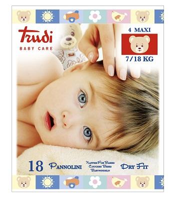 TRUDI BABY CARE PANNOLINO DRY FIT MAXI 7/18 KG 18 PEZZI - La farmacia digitale