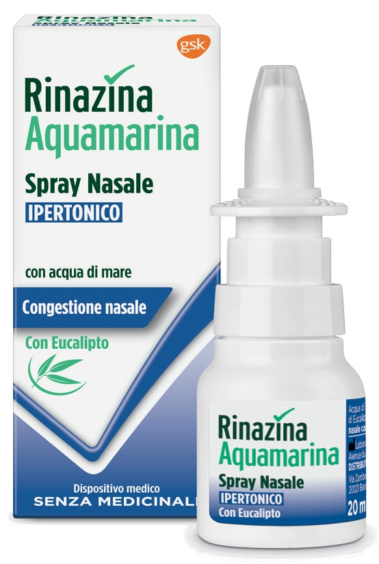 RINAZINA AQUAMARINA SPRAY NASALE IPERTONICO CON EUCALIPTO 20 ML - Farmawing