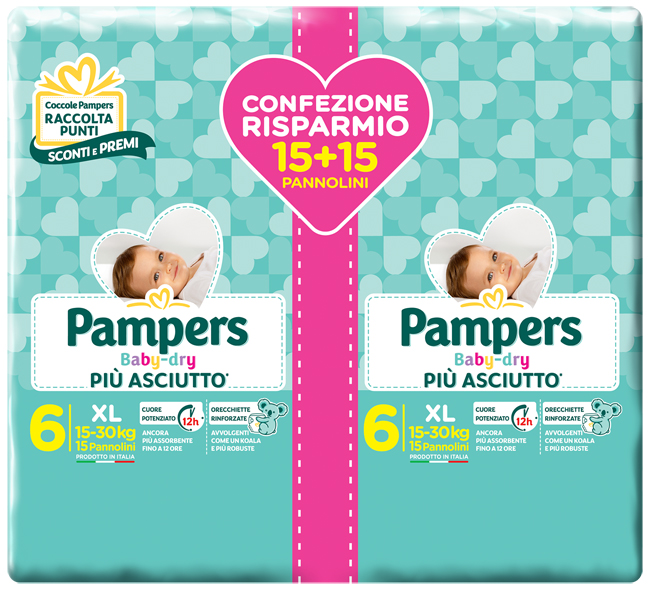 PAMPERS BABY DRY DUO DWCT XL 30 PEZZI - Farmafamily.it