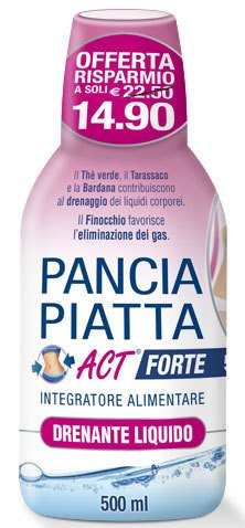 PANCIA PIATTA ACT FORTE DRENANTE LIQUIDO 500 ML - Farmafamily.it