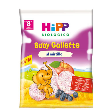 HIPP BIOLOGICO GALLETTE DI RISO MIRTILLO 30 G - Farmabellezza.it
