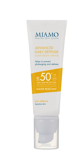 MIAMO SKIN DEFENSE ADVANCED DAILY DEFENSE SUNSCREEN CREAM SPF 50+ 50 ML ARROSSAMENTO CUTANEO E FOTOINVECCHIAMENTO - Farmajoy