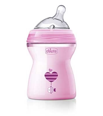 CHICCO BIBERON NATFEEL 2M+ GIRL 250 ML - Farmastop