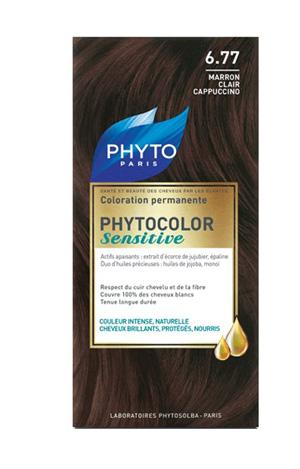 PHYTOCOLOR SENSITIVE 6.77  CASTANO CHIARO NOCCIOLA 1 LOZIONE LIQUIDA 60 ML + 1 CREMA 40 ML + 1 BALSAMO 12 ML + FOGLIETTO DI ISTRUZIONI + GUANTI LATTICE - Antica Farmacia Del Lago