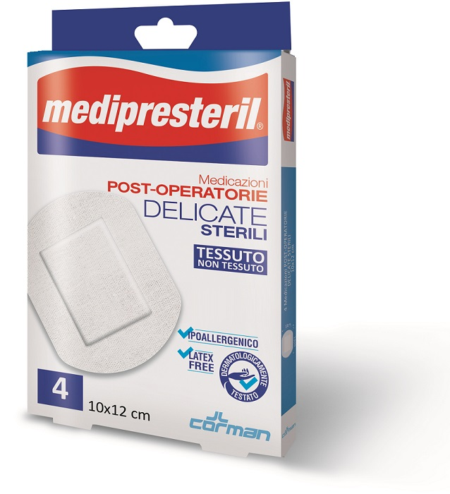 MEDIPRESTERIL MEDICAZIONI POST OPERATORIE DELICATE 10 X 12 4 PEZZI - Zfarmacia