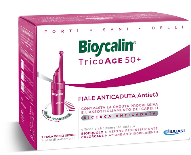 BIOSCALIN TRICOAGE 45+ ANTICADUTA ANTIETA' 10 FIALE 3,5 ML - Farmafamily.it