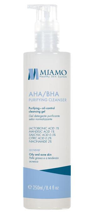 MIAMO ACNEVER AHA/BHA PURIFYING CLEANSER 250 ML GEL DETERGENTE PURIFICANTE SEBO-NORMALIZZANTE - Farmajoy