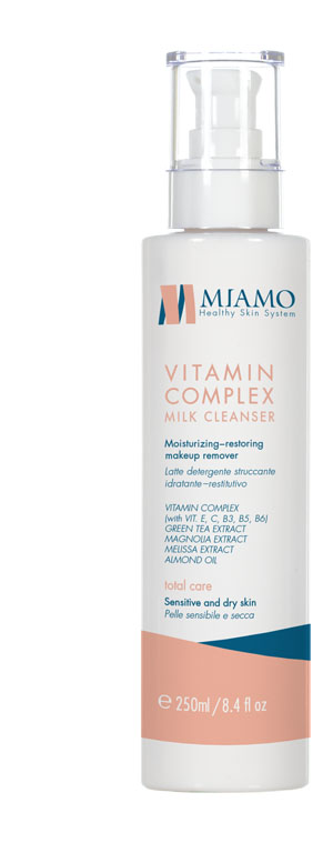 MIAMO TOTAL CARE VITAMIN COMPLEX MILK CLEANSER 250 ML LATTE DETERGENTE STRUCCANTE IDRATANTE RESTITUTIVO - Farmajoy