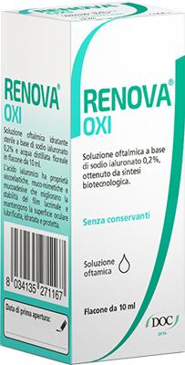 RENOVA OXI COLLIRIO SOLUZIONE OFTALMICA A BASE DI ACIDO IALURONICO 0,2% FLACONE DA 10 ML - Speedyfarma.it