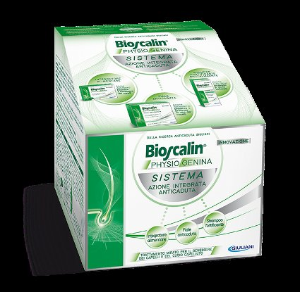 BIOSCALIN PHYSIOGENINA SISTEMA COMPRESSE 25 G + FIALE 35 ML + SHAMPOO RIVITALIZZANTE 200 ML - Farmafamily.it