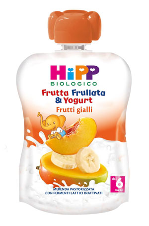 HIPP BIO FRUTTA FRULLATA YOGURT FRUTTI GIALLI 90 G - Farmafamily.it