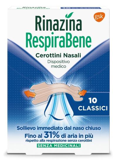 RINAZINA RESPIRABENE CEROTTI NASALI CLASSICI CARTON 10 PEZZI - FARMAEMPORIO