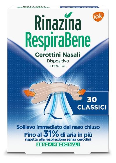 RINAZINA RESPIRABENE CEROTTI NASALI CLASSICI CARTON 30 PEZZI - Farmawing