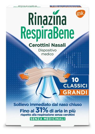 RINAZINA RESPIRABENE CEROTTI NASALI CLASSICI GRANDI CARTON 10 PEZZI - FARMAEMPORIO