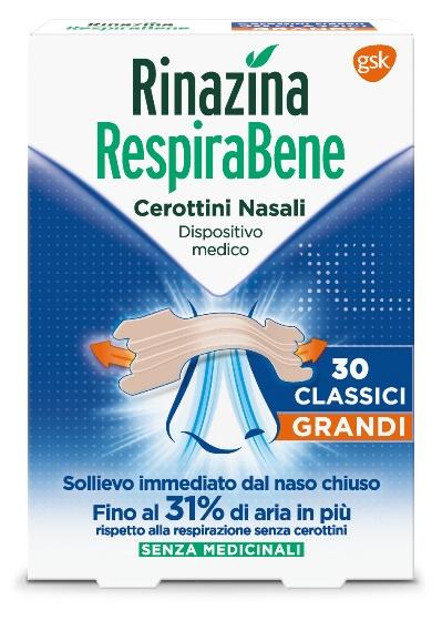 RINAZINA RESPIRABENE CEROTTI NASALI CLASSICI GRANDI CARTON 30 PEZZI - Farmacia 33