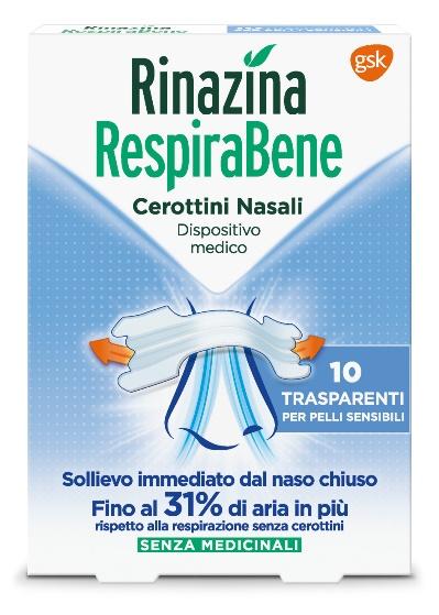 RINAZINA RESPIRABENE CEROTTI NASALI TRASPARENTI CARTON 10 PEZZI - Farmastar.it