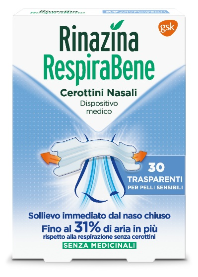 RINAZINA RESPIRABENE CEROTTI NASALI TRASPARENTI CARTON 30 PEZZI - latuafarmaciaonline.it