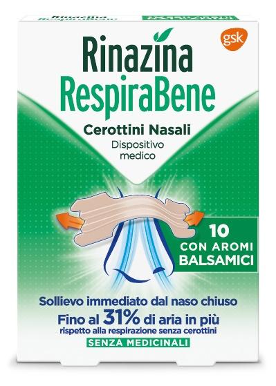 RINAZINA RESPIRABENE CEROTTI NASALI CON AROMI BALSAMICI CARTON 10 PEZZI - Farmacia 33