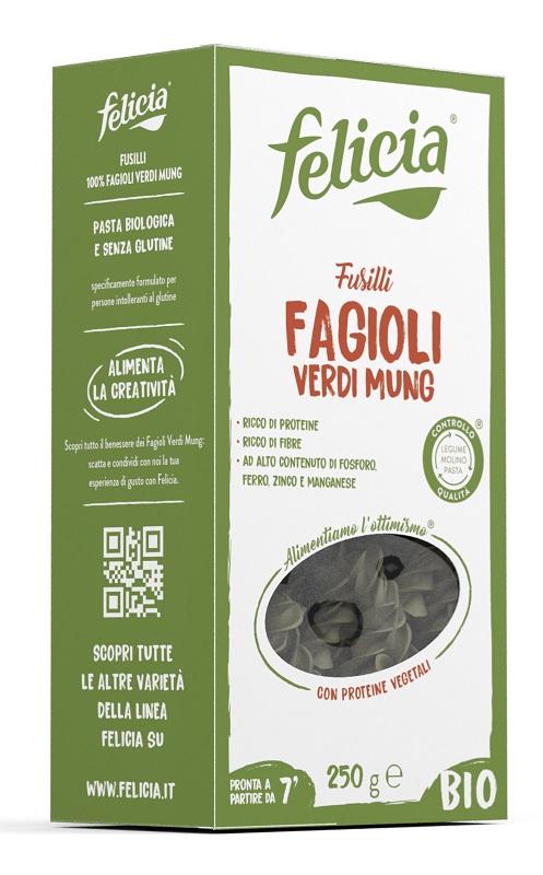 FELICIA BIO FUSILLI FAGIOLI VERDI MUNG 250 G - Farmastar.it