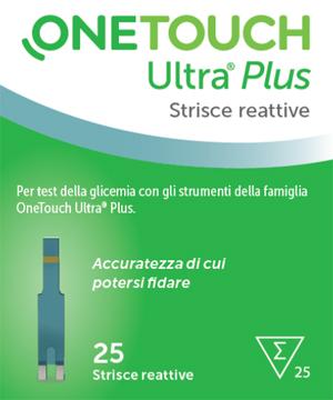 STRISCE REATTIVE PER LA MISURAZIONE GLICEMIA ONETOUCH ULTRA PLUS 25 PEZZI - Farmabenni.it