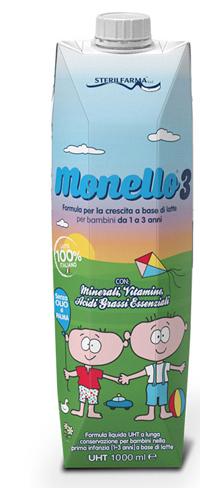 MONELLO 3 FORMULA PER LA CRESCITA A BASE DI LATTE PER BAMBINI DA 1 A 3 ANNI LIQUIDO 1 LITRO - Farmacia Castel del Monte